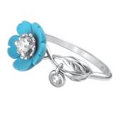 Кольцо Цветок с бирюзой и фианитами из серебра 925 пробы