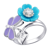 Кольцо Цветок с бирюзой и Бабочка с эмалью из серебра 925 пробы