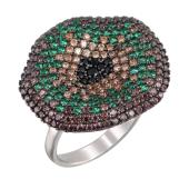Кольцо Цветок с зелеными и коричневыми фианитами, серебро с чернением