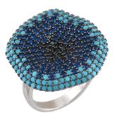 Кольцо Василек с синими и голубыми фианитами, серебро с чернением