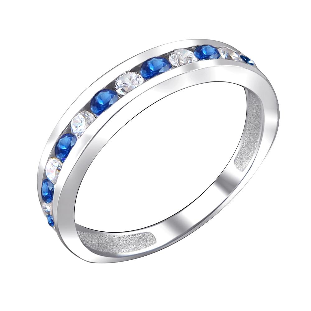 Кольцо Дорожка с сапфировыми и прозрачными фианитами, серебро 925 пробы