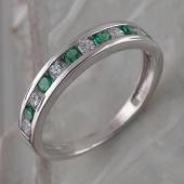 Кольцо Дорожка с изумрудными и прозрачными фианитами, серебро 925 пробы