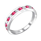 Кольцо Дорожка с рубиновыми и прозрачными фианитами, серебро 925 пробы