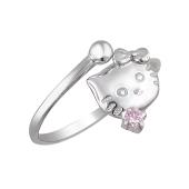 Кольцо открытое детское Кошка Hello Kitty с розовым фианитом из серебра