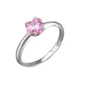 Кольцо Сердце с розовым фианитом, серебро