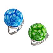 Кольцо с шариком Мурано, серебро