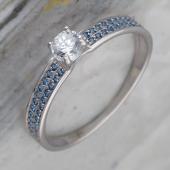 Кольцо Дорожка с сапфировыми и прозрачным фианитами, серебро