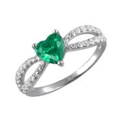 Кольцо Сердце Океана с зеленым фианитом и прозрачными фианитами из серебра 925 пробы