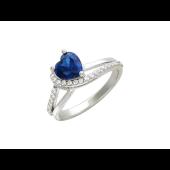 Кольцо Сердце Океана с синим и прозрачными фианитами, серебро