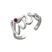 Кольцо безразмерное с надписью Love и цветным фианитом, серебро
