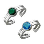 Кольцо безразмерное с круглым цветным фианитом, серебро