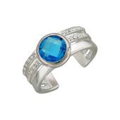 Кольцо разомкнутое на ногу или фалангу с голубым фианитом и прозрачными фианитами, серебро