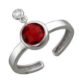 Кольцо разомкнутое с круглым цветным фианитом и подвеской, серебро