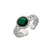 Кольцо разомкнутое на ногу или фалангу с зеленым фианитом, серебро