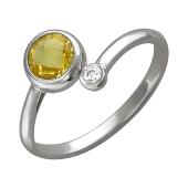 Кольцо с цитриновым фианитом, серебро