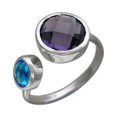 Кольцо разомкнутое с фиолетовым и голубым фианитом, серебро