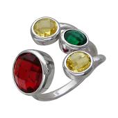 Кольцо Fashion Story с зеленым, красным и желтым камнем, серебро