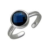 Кольцо разомкнутое с круглым цветным фианитом, серебро