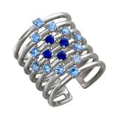 Кольцо широкое с голубыми фианитами и синтетической шпинелью, серебро