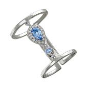 Кольцо длинное фаланговое на весь палец с голубыми фианитами капелька, серебро