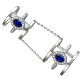 Кольцо двойное фаланговое с синими камнями, серебро