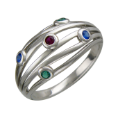 Кольцо Китай с синтетическим рубином и шпинелью, серебро