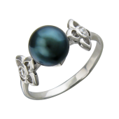 Кольцо Китай с чёрным жемчугом и фианитами, серебро