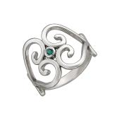 Кольцо Индия с наноизумрудом, серебро
