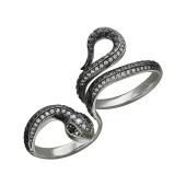 Кольцо Змея на два пальца с чёрными и прозрачными фианитами, серебро