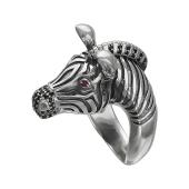 Кольцо Зебра с рубиновыми корундами и чёрными фианитами, серебро