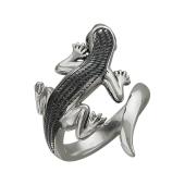 Кольцо Ящерица с чёрными фианитами, серебро с чернением