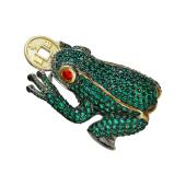 Кольцо Лягушка с монетой и зелеными фианитами, серебро