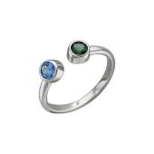 Кольцо открытое с синими и зеленым камнем, серебро