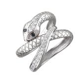 Кольцо Змея с черными глазами из серебра