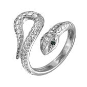 Кольцо Змея с фианитами и наноизумрудом, серебро