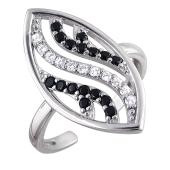 Кольцо открытое с черными и прозрачными фианитами из серебра