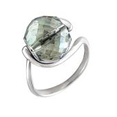 Кольцо Шар с хрусталем, серебро
