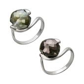 Кольцо с круглым граненым хрусталем, серебро