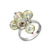 Кольцо с хрустальными шариками, серебро