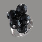 Кольцо с круглыми подвесками из хрусталя, серебро