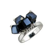 Кольцо с подвесками из черного хрусталя, серебро