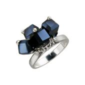 Кольцо с подвесками из хрусталя, серебро