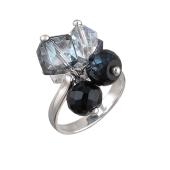 Кольцо с черным и прозрачным хрусталем, серебро