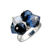 Кольцо с синими хрустальными элементами, серебро