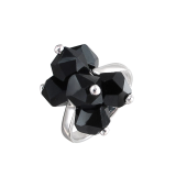 Кольцо с хрусталем черным, серебро