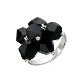 Кольцо с черным хрусталем, серебро