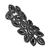 Кольцо длинное фаланговое на весь палец Листочки с чёрными фианитами, серебро с чернением