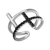 Кольцо Крестик открытое с черными фианитами, серебро