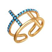 Кольцо открытое Крестик с бирюзовыми фианитами из серебра с позолотой