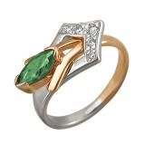 Кольцо с наноизумрудом и фианитами, красное и белое золото